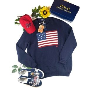 $288 Polo Ralph Lauren American Flag Sweater NWT